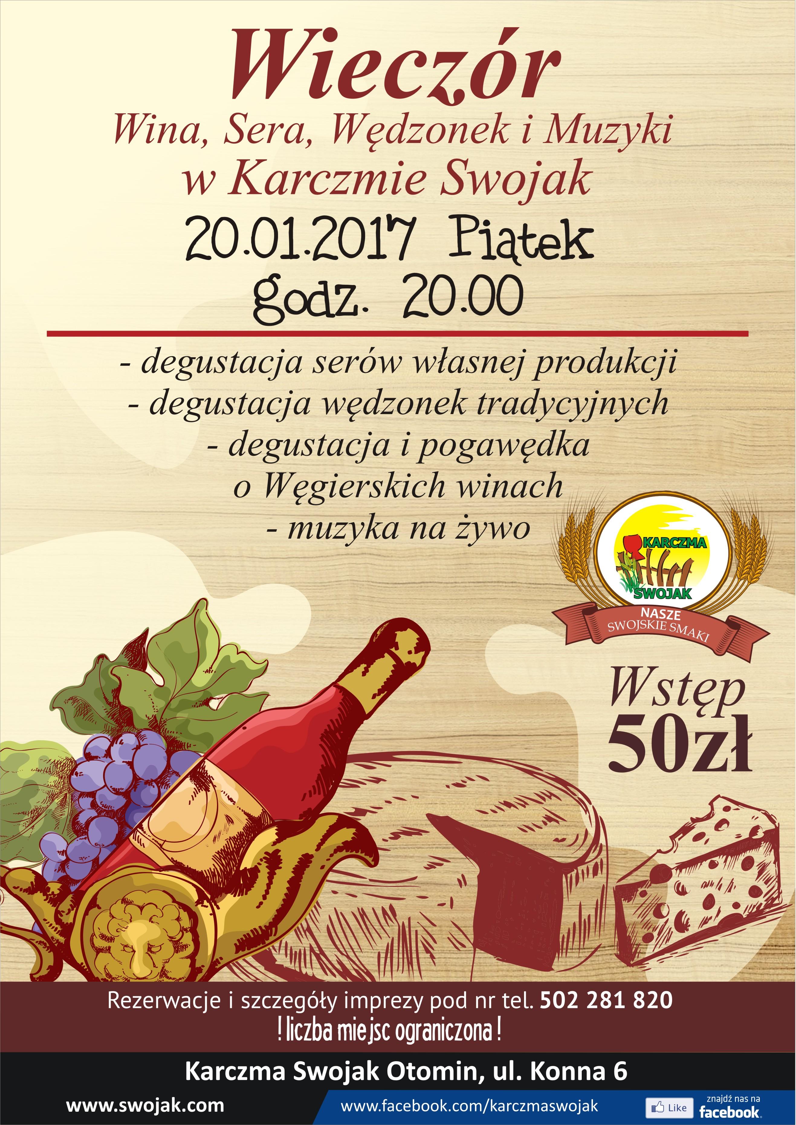 Degustacja serów wędzonek win koncert Otomin